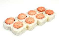 Sushi , roll, Japanese seafood sushi , roll on a white background Stock Photos