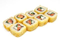 Sushi , roll, Japanese seafood sushi , roll on a white background. Japanese seafood sushi and roll Stock Image