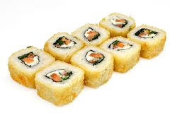 Sushi , roll, Japanese seafood sushi , roll on a white background Royalty Free Stock Image