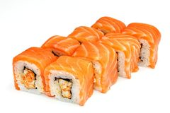 Sushi , roll, Japanese seafood sushi , roll on a white background Stock Images