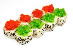 Sushi , roll, Japanese seafood sushi , roll on a white background Royalty Free Stock Photo