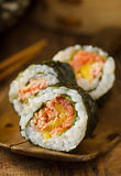 Sushi Roll. A Japanese sushi roll with smoked salmon and mango Stock Image