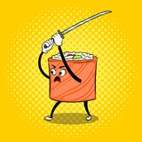 Sushi roll with japanese sword pop art vector. Traditional sushi roll with japanese sword pop art retro vector illustration. Cartoon character. Color background stock illustration