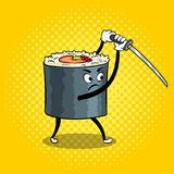 Sushi roll with japanese sword pop art vector. Traditional sushi roll with japanese sword pop art retro vector illustration. Cartoon character. Color background royalty free illustration