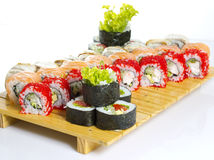 Sushi roll made dish isolated Stock Images