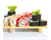 Sushi roll made dish isolated Stock Image