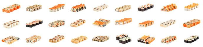Sushi Roll - Maki Sushi pieces collection with Salmon Roe, Smoked Eel, Cucumber, Cream Cheese, Sesame, Avocado, Onion Fries, Crab royalty free stock photos