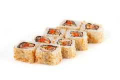 Sushi Roll - Maki Sushi with Salmon Roe, Smoked Eel, Cucumber, Chips Tuna and Sesame isolated on white background royalty free stock photo