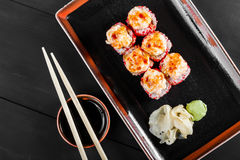 Sushi Roll - Maki Sushi with red caviar, eel, avocado and cheese Stock Image