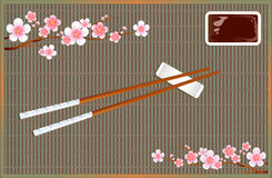 Sushi roll mat. Devices for Asian cuisine. Sakura blossom branches. Vector Stock Photos