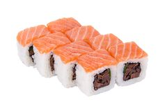 Sushi roll with mushrooms Royalty Free Stock Photo