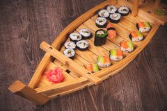 Sushi roll and nigiri boat set Royalty Free Stock Image