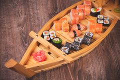 Sushi roll and nigiri boat set Royalty Free Stock Photo