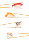 Sushi roll and nigiri sushi roll in chopsticks isolated Stock Photo