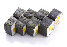 Sushi roll in nori with salmon cheese and vegetables isolated Royalty Free Stock Photo