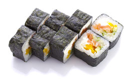 Sushi roll in nori with salmon cheese and vegetables isolated Royalty Free Stock Image