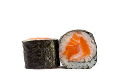 Sushi roll in nori with salmon isolated on white background. Sushi roll in nori with salmon and rice isolated on white background Royalty Free Stock Photo