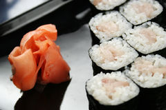 Sushi roll with perch Royalty Free Stock Photography