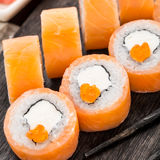 Sushi roll philadelphia with caviar Royalty Free Stock Photography