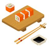 Sushi roll Philadelphia with fish, cream cheese, chopsticks, wood board. Stock Photos