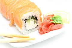 Sushi roll philadelphia with ginger and wasabi Stock Photography
