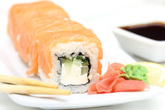 Sushi roll philadelphia with ginger and wasabi Royalty Free Stock Photos