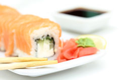 Sushi roll philadelphia with ginger and wasabi Stock Photos