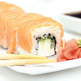 Sushi roll philadelphia with ginger and wasabi Stock Photo
