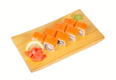 Sushi roll Philadelphia isolated on white Royalty Free Stock Photography