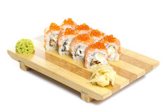 Sushi roll philadelphia with red roe Royalty Free Stock Photo