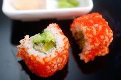 Sushi roll Philadelphia with wasabi Stock Photos