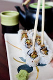 Sushi Roll Plate. A shallow focus on place setting at for a traditional sushi meal Royalty Free Stock Images