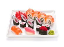 Sushi and roll in plate Stock Photography