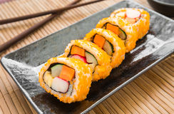 Sushi roll on plate Royalty Free Stock Image