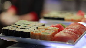 Sushi Roll On Plate. stock footage