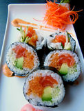 Sushi roll on plate Stock Photography