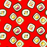 Sushi roll on red background. Seamless pattern with sushi roll on red background Stock Images