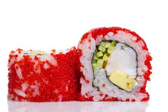 Sushi roll with red caviar isolated Royalty Free Stock Photos