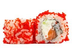 Sushi roll with red caviar isolated on white background Stock Photo