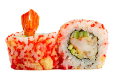 Sushi roll with red caviar and tempura isolated on white background Royalty Free Stock Image