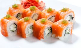 Sushi roll with red fish closeup Royalty Free Stock Photos