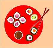 Sushi roll. Red plate with different types of sushi roll Stock Images