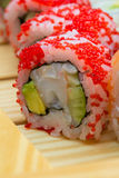 Sushi roll with red tobiko Stock Images