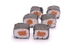 Sushi Roll with Salmon. Isolated on white Royalty Free Stock Image