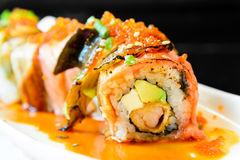 Sushi roll with salmon avocado Royalty Free Stock Photo
