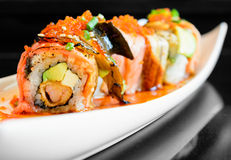 Sushi roll with salmon avocado Royalty Free Stock Images