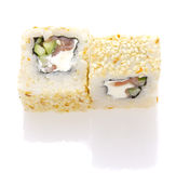 Sushi roll with salmon cheese and vegetables rolled in sesame isolated Stock Images
