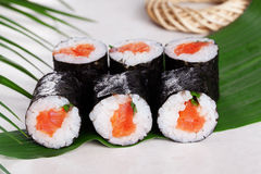 Sushi roll salmon chives mini kappa maki in the Royalty Free Stock Images