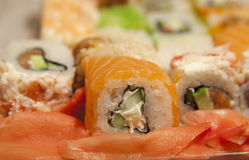 Sushi roll with salmon cucumber and cream cheese Stock Photo