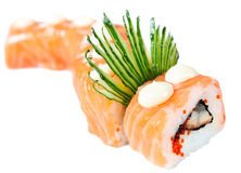Sushi Roll with salmon, eel and cucumber Royalty Free Stock Photography